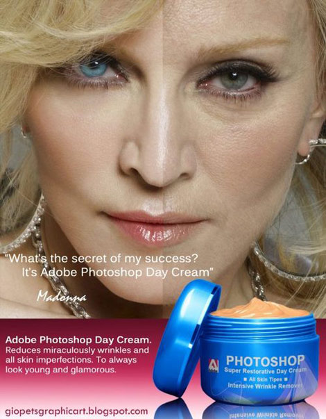 Madonna with and without Photoshop