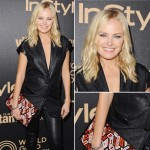 Malin Akerman pregnant baby bump in leather pants
