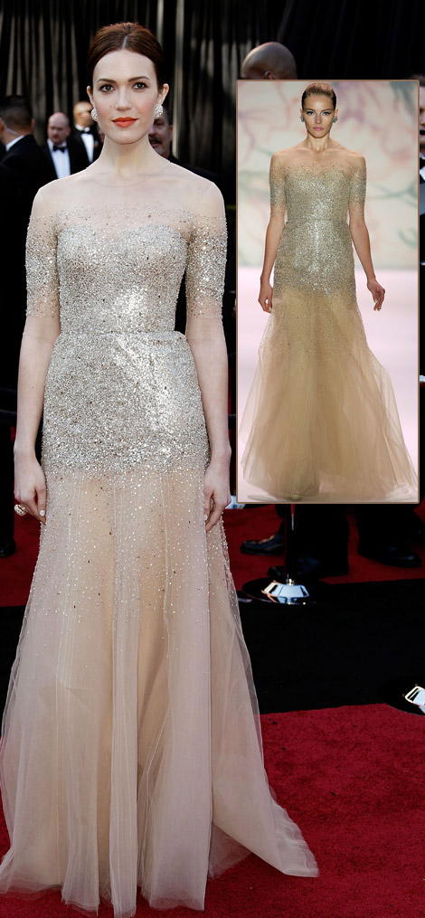 Mandy Moore Sheer sequined Monique Lhuillier dress 2011 Oscars