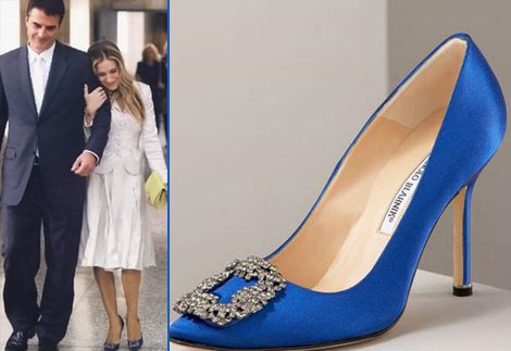 Manolo Blahnik Blue Satin Shoe SATC