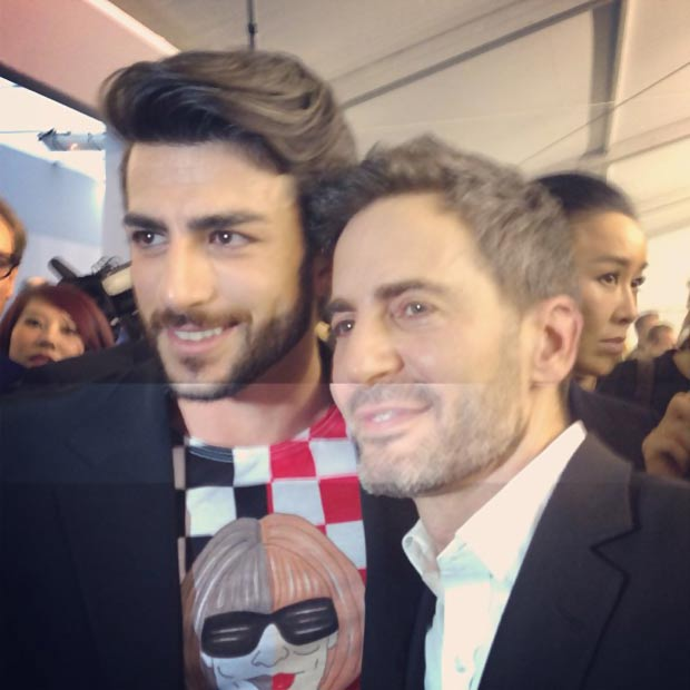 Marc Jacobs last Vuitton show backstage with boyfriend