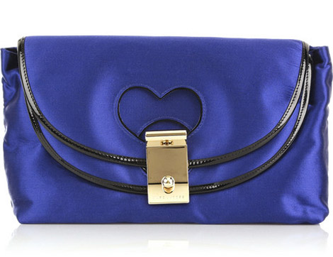 Marc Jacobs leighton blue satin clutch