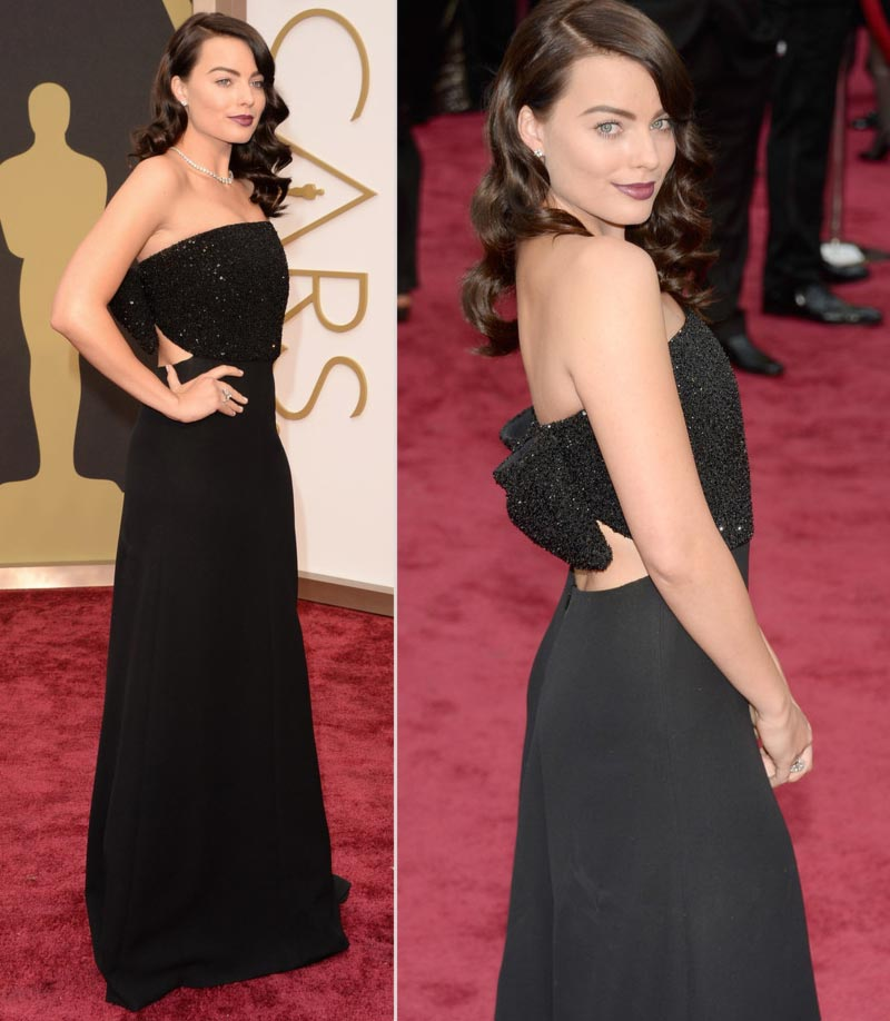 Margot Robbie 2014 Oscars black dress Saint Laurent