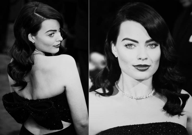 Margot Robbie 2014 Oscars retro glam beauty
