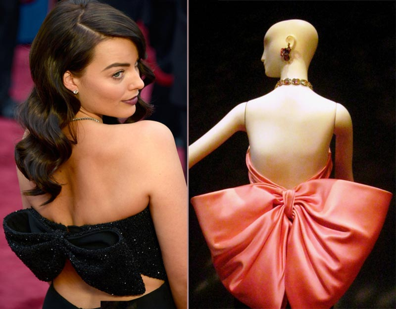 Margot Robbie 2014 Oscars YSL Parisian bow dress