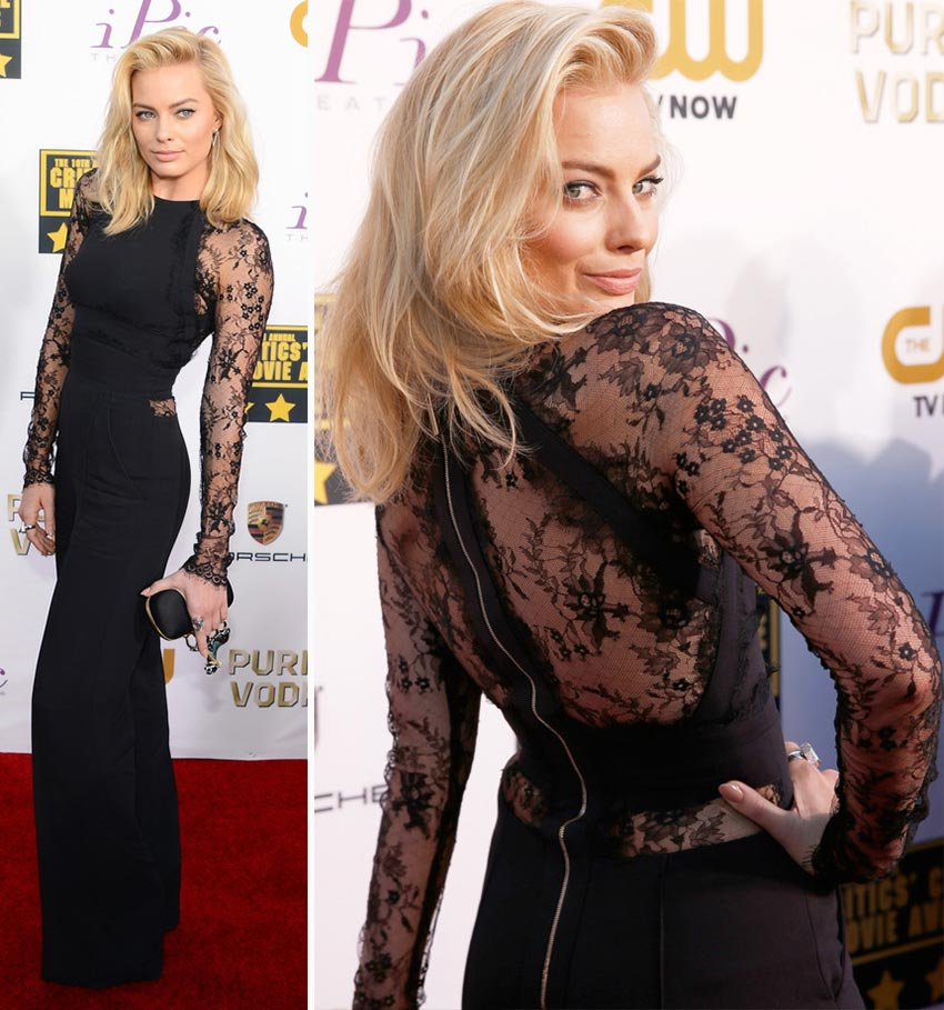 Margot Robbie black jumpsuit 2014 Critics Choice Awards