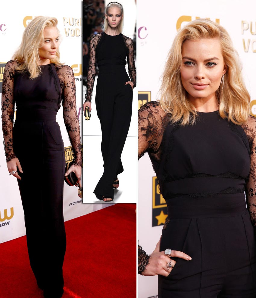 Margot Robbie black jumpsuit Elie Saab Critics Choice Awards