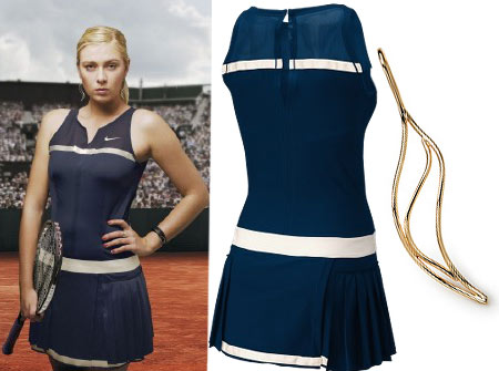 Maria Sharapova Nike Paris Dress and Tiffany Elsa Peretti Wave Earrings