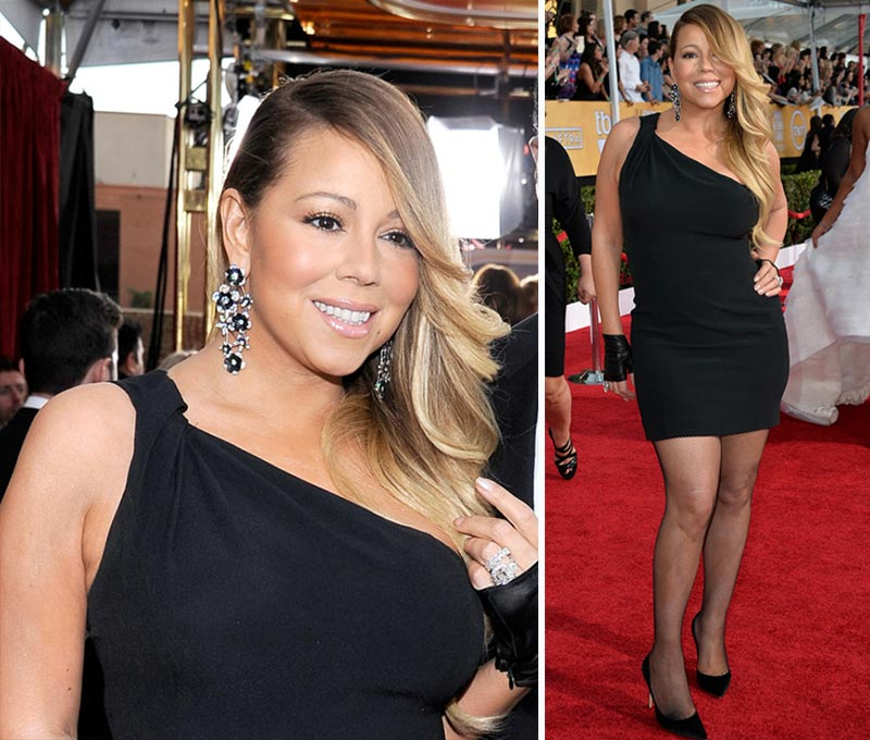 Mariah Carey Saint Laurent black dress 2014 SAG Awards