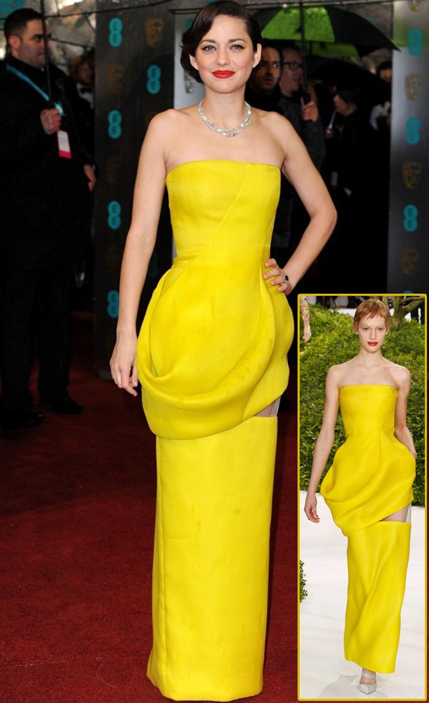 Marion Cotillard 2013 BAFTA Dior Couture yellow dress