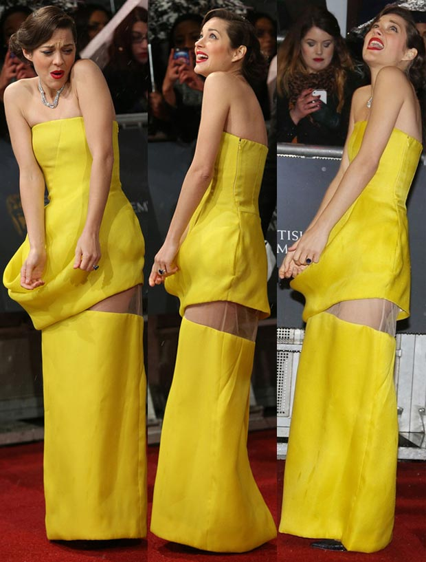 Marion Cotillard 2013 BAFTA yellow dress in the snow