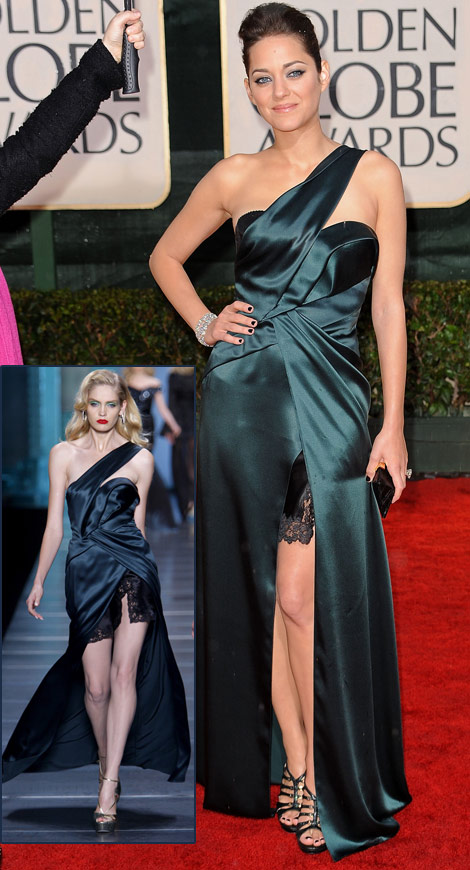 Marion Cotillard Christian Dior dress Golden Globes 2010