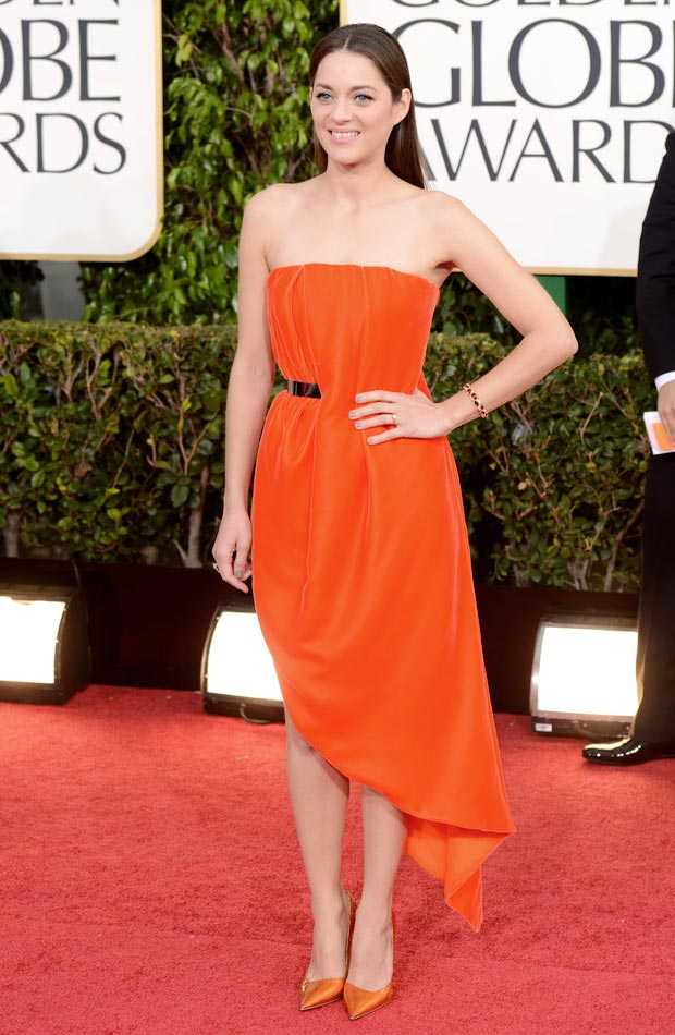 Marion Cotillard orange Dior dress 2013 Golden Globes