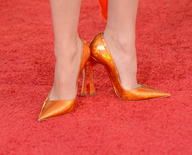 Marion Cotillard orange shoes 2013 Golden Globes