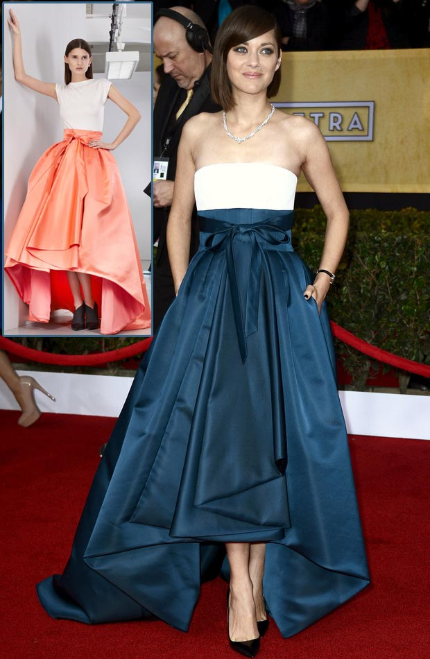 Marion Cotillard strapless Dior blue dress 2013 SAG Awards