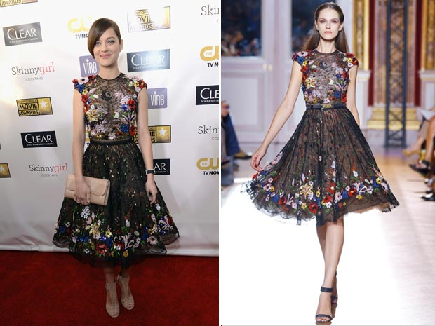 Marion Cotillard Zuhair Murad Black Flowery Dress Critics Choice Awards 2017