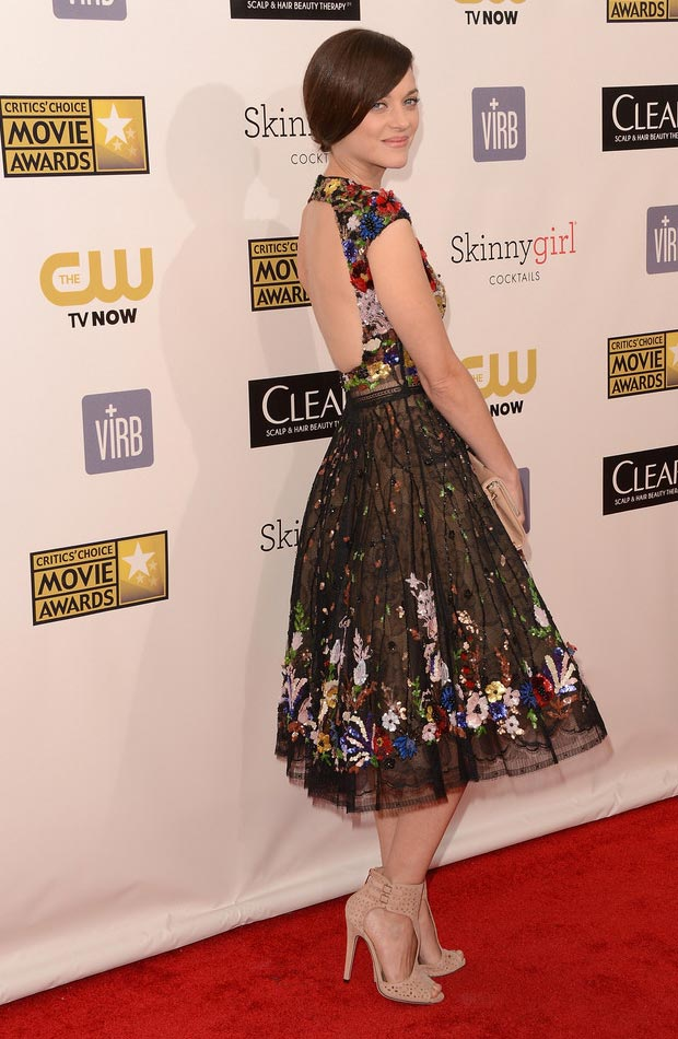 Marion Cotillard Zuhair Murad black lace dress Critics Choice Awards 2013