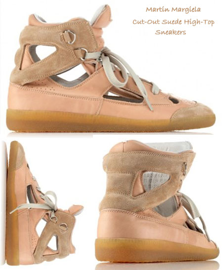 Martin Margiela Cut out suede high top sneakers
