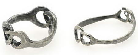 Martin Margiela Line 11 Silver Interlocking Ring And Bracelet