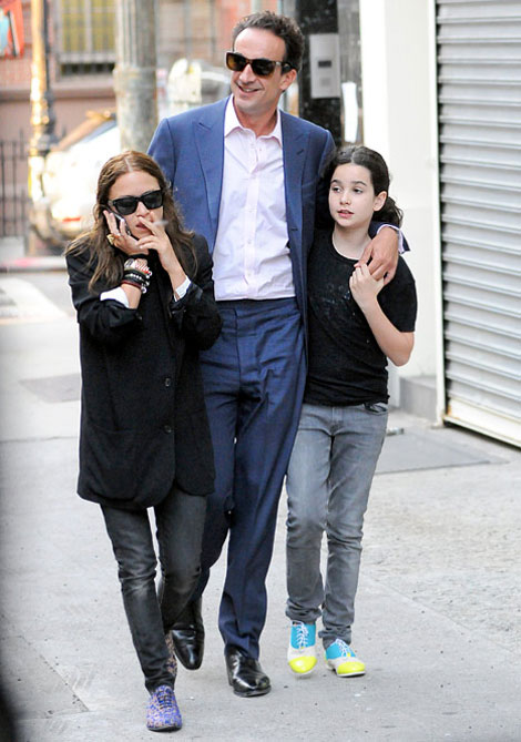 Mary Kate Olsen with boyfriend Olivier Sarkozy and daughter