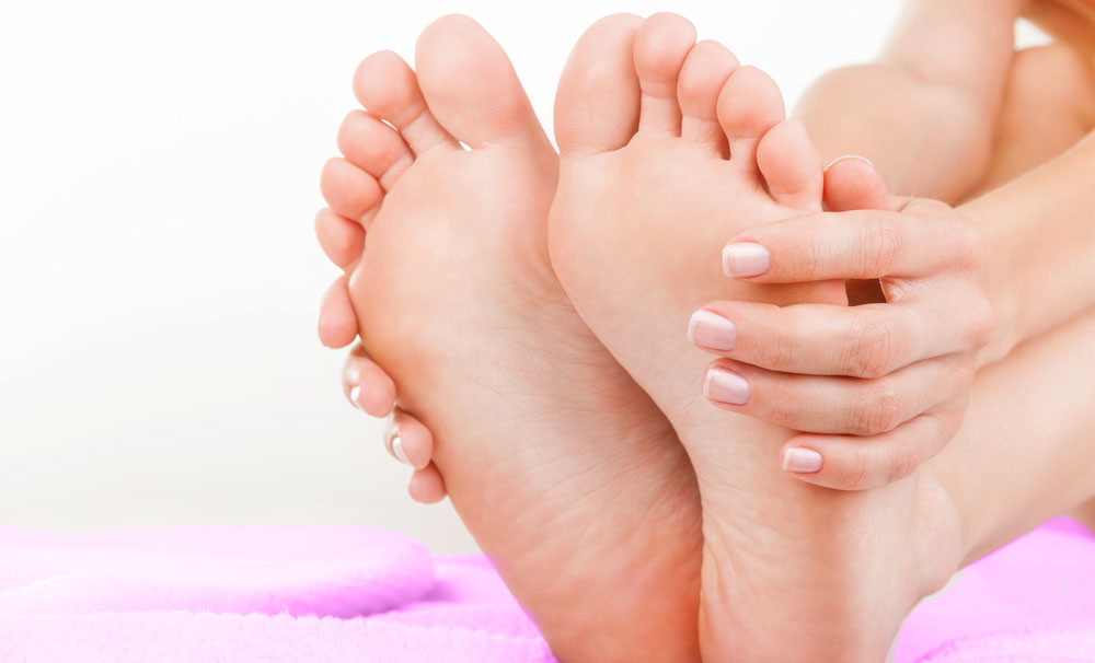 massage oil into feet to repair skin