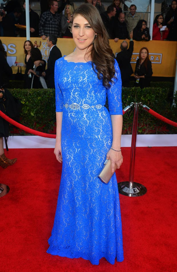 Mayim Bialik blue lace dress 2013 SAG Awards