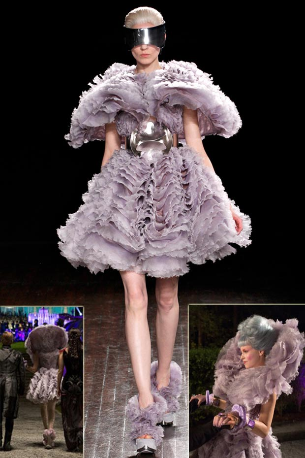 McQueen lavender dress Hunger Games Effie Trinket