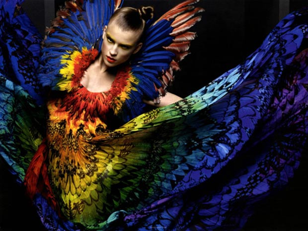 McQueen parrot dress inspired by Isabella Blow