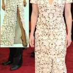 Melissa Leo Beige and gold lace Marc Bouwer dress 2011 Oscars