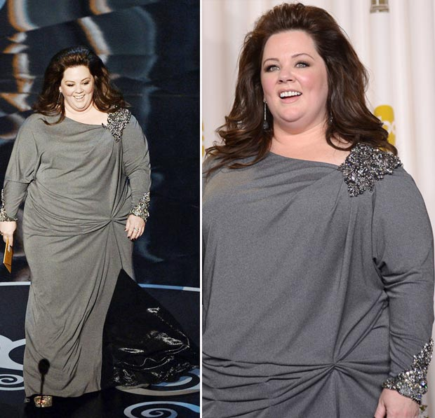 Melissa McCarthy David Meister grey dress 2013 Oscars