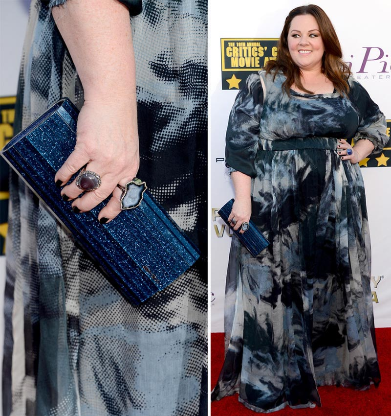 Melissa McCarthy dress jewelry clutch 2014 Critics Choice Awards