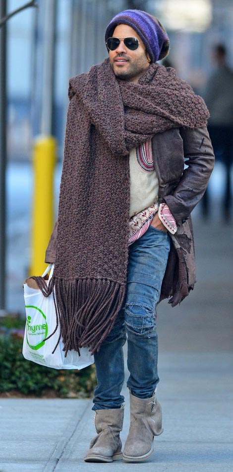 men street fashion Lenny Kravitz giant scarf