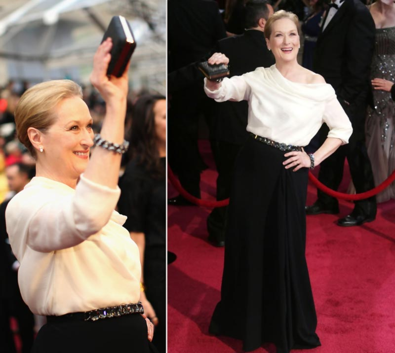 Meryl Streep 2014 Oscars black and white Lanvin