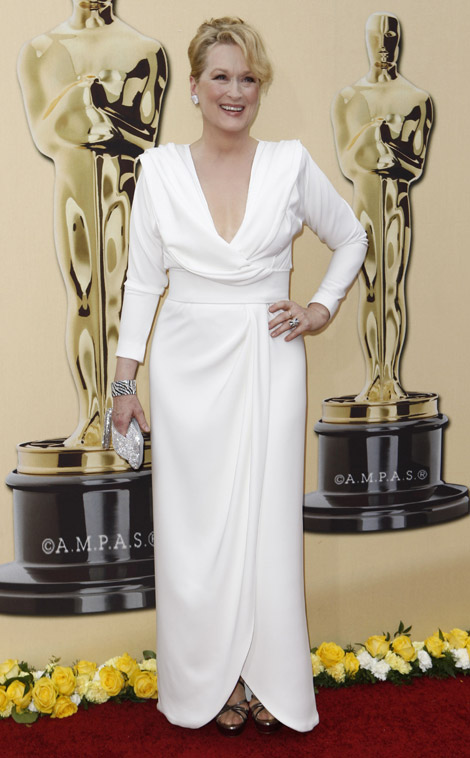 Meryl Streep Chris March White Dress 2010 Oscars