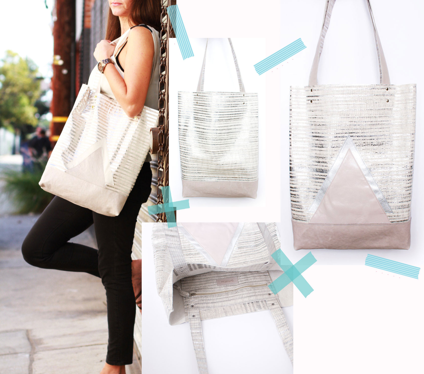 metallic tote bag geometric etsy