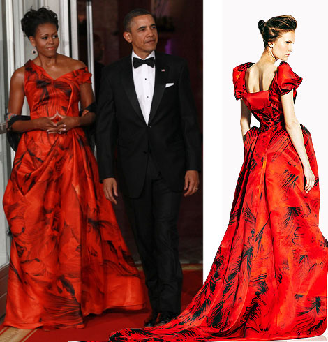 Michelle Obama Alexander McQueen Resort 2011 red dress