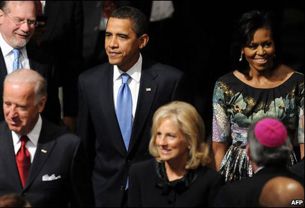 Michelle Obama Barack Obama Multi Denominational service Washington National Cathedral Tracy Feith dress