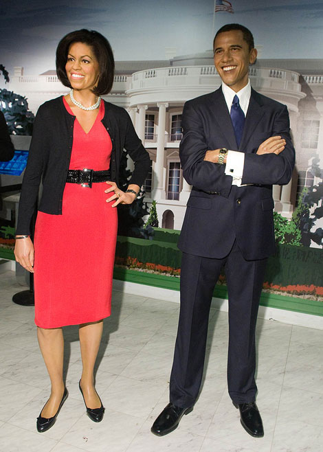 Michelle Obama Barack Obama wax figures