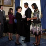 Michelle Obama Barack Obama White House first day Tracy Feith dress
