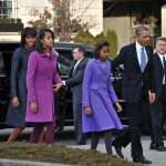 Michelle Obama blue coat dress daughters purple JCrew Kate Spade coats