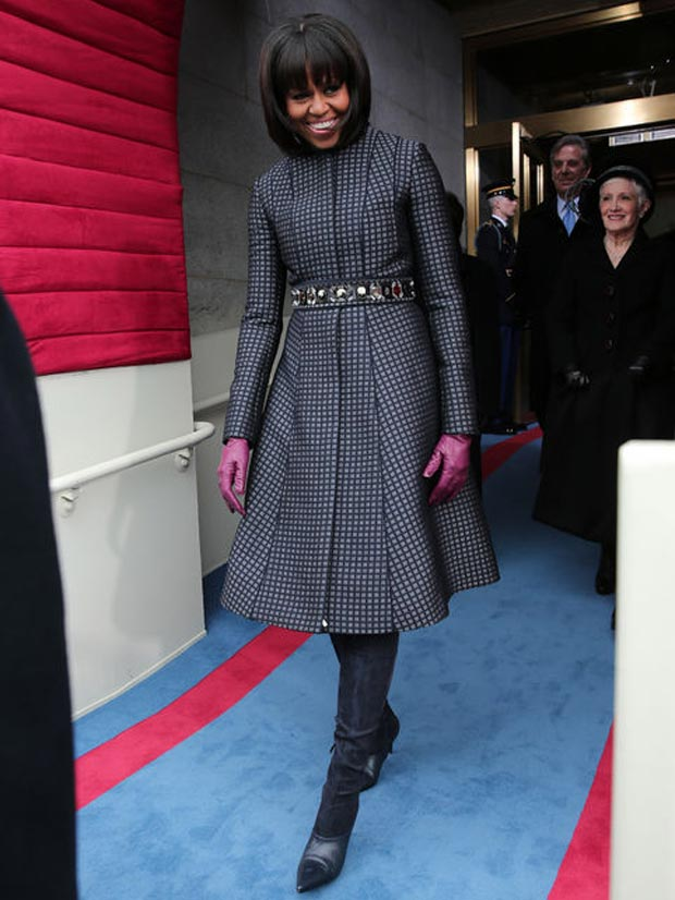 Michelle Obama blue coat dress Thom Browne JCrew belt