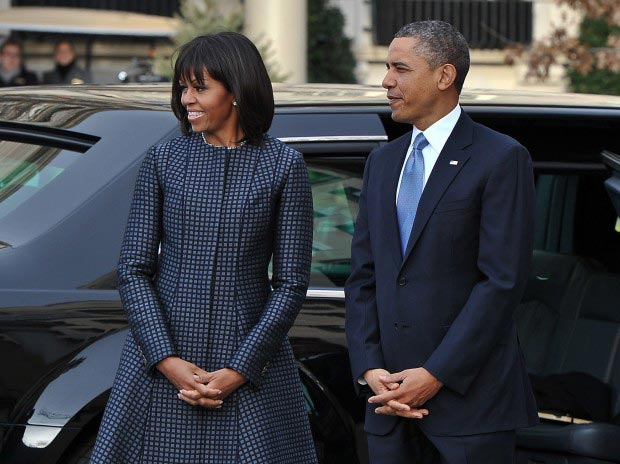 Michelle Obama blue coat dress Thom Browne
