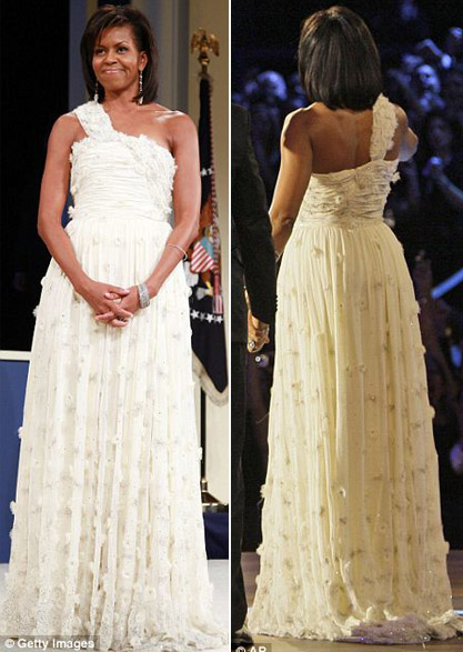 Michelle Obama Jason Wu white dress Inauguration Ball