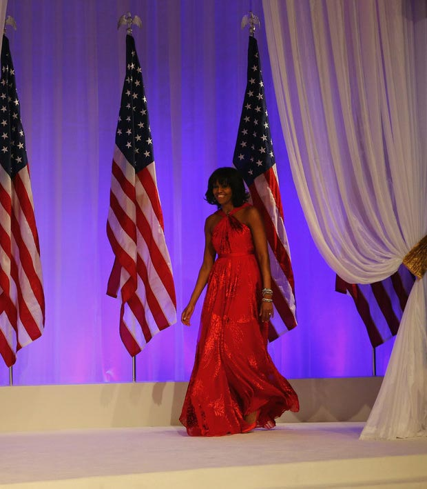 Michelle Obama Wu red dress Inauguration Ball