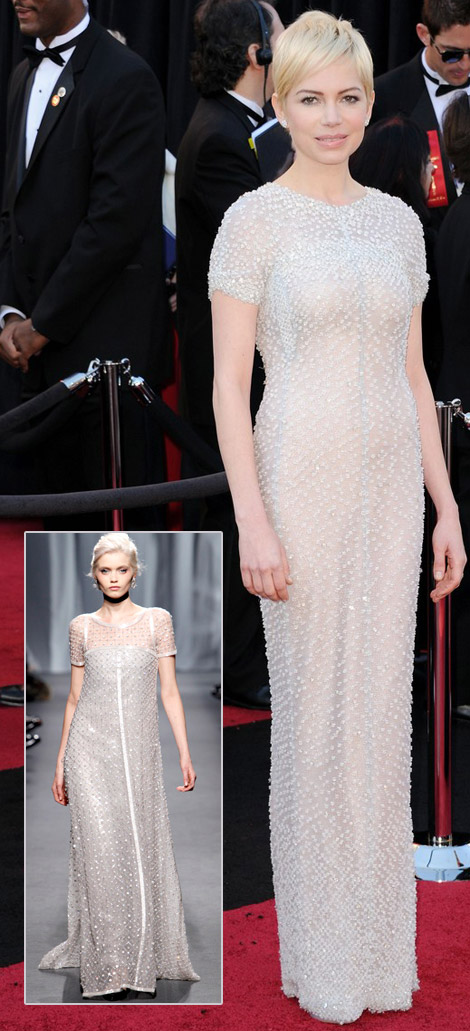 Michelle Williams Chanel beaded dress 2011 Oscars