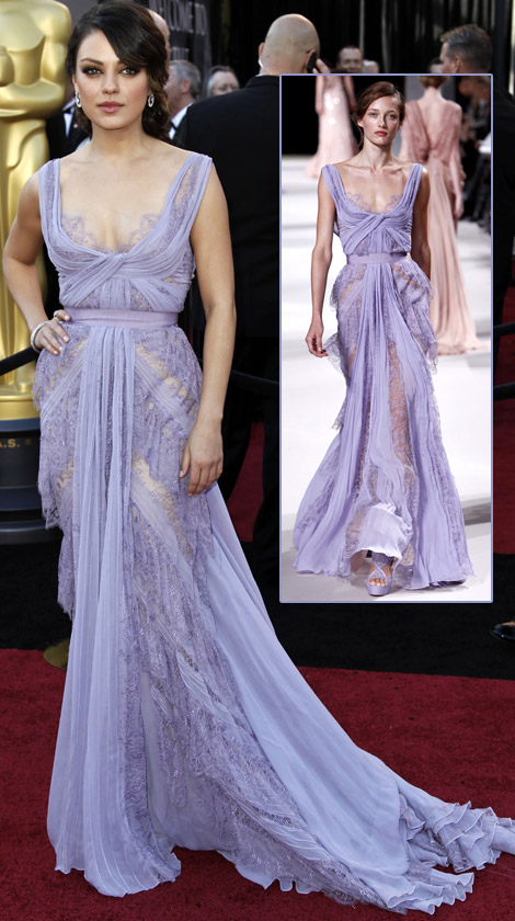 mila kunis elie saab lavender dress for 2011 oscars stylefrizz