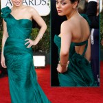Mila Kunis Green Vera Wang dress Golden Globes 2011