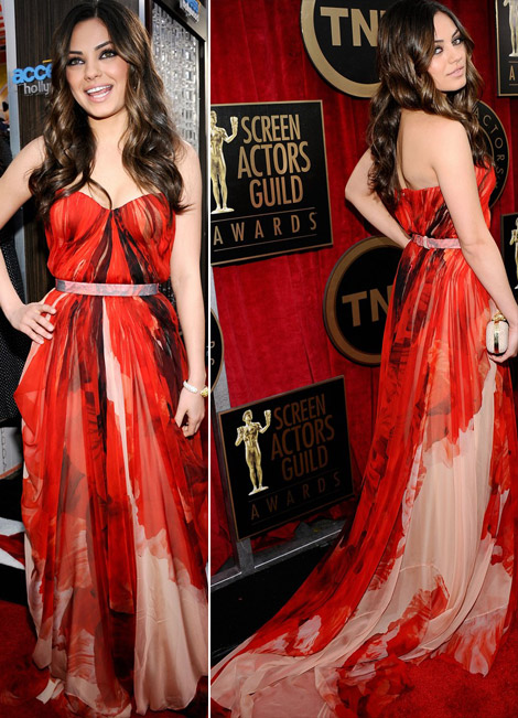 Mila Kunis In Red Alexander McQueen Dress For 2011 SAG Awards