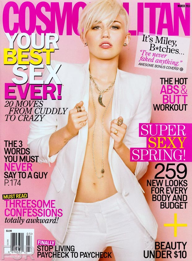 Miley Cyrus Cosmopolitan March 2013 revealing cover