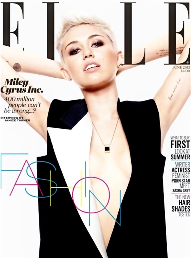 Miley Cyrus Elle UK black and white June 2013 cover